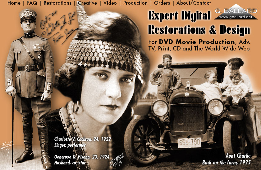PROFESSIONAL PHOTOSHOP DIGITAL RESTORATION ARTIST produced large genealogy family project to movie DVD based on 1800s 1900s 2000s Mid West farming, grandma's old photographic picture albums and mother's oral history — 1920 style AD fonts colors professional graphic design project.